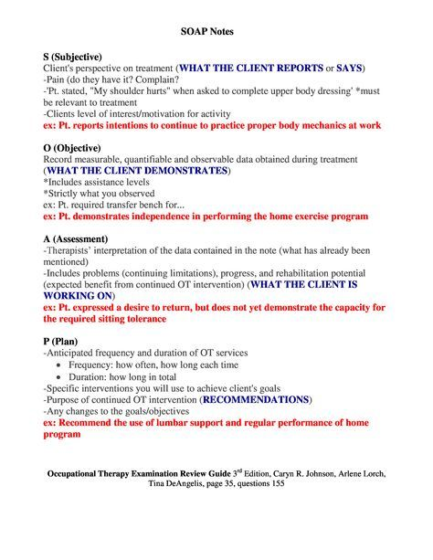 Sample Occupational Therapy Soap Note Google Search Occupational