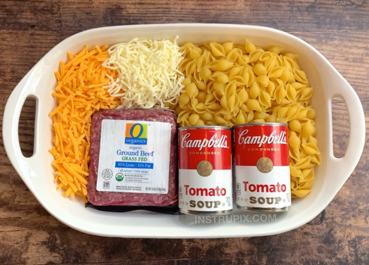 Easy Hamburger Casserole Recipe (4 Ingredients) #hamburgercassarole
