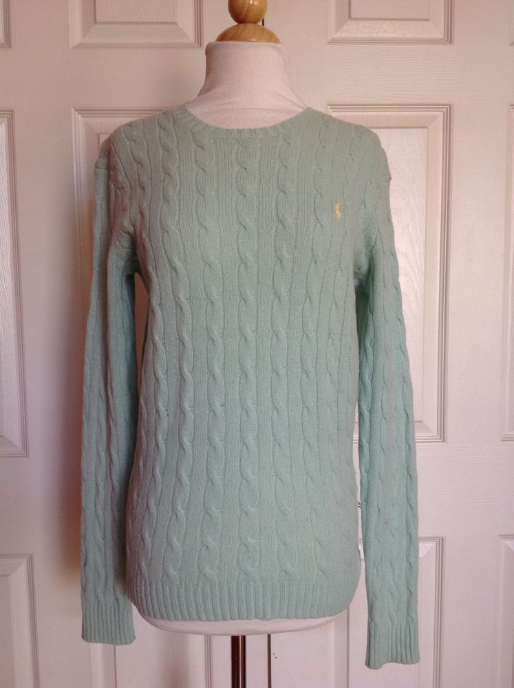 6c7c73d5a3997a RALPH LAUREN SPORT Women s Mint Green 100% Lambswool Cable Knit Sweater  Size M  RalphLauren  Crewneck