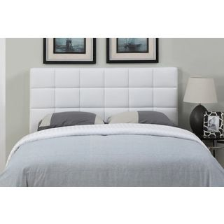 White Leather Full Queen Size Square Tufted Headboard Ping