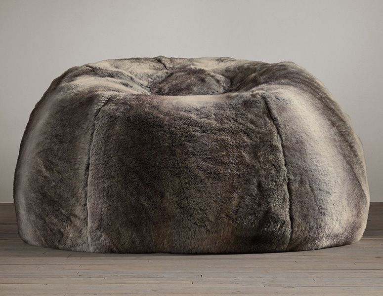 Remarkable Grand Luxe Faux Wolf Fur Bean Bag Chair Chairs Faux Fur Squirreltailoven Fun Painted Chair Ideas Images Squirreltailovenorg
