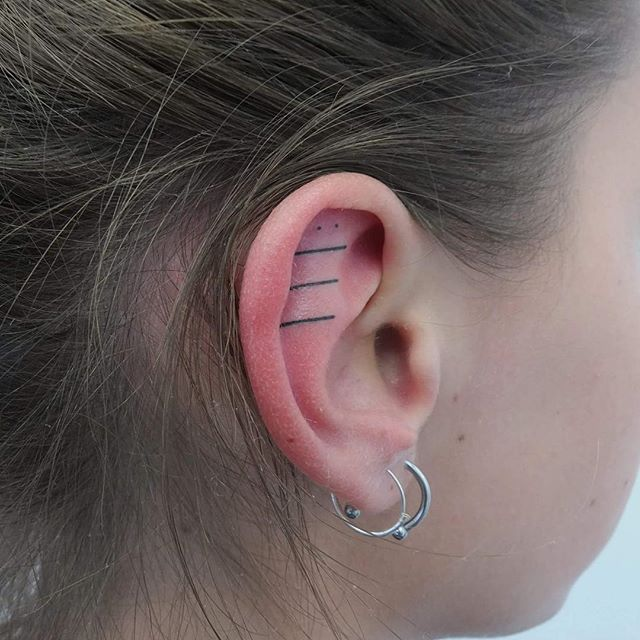 Handpoked Ear Tattoo From A While Ago Thanks Ears Are Always