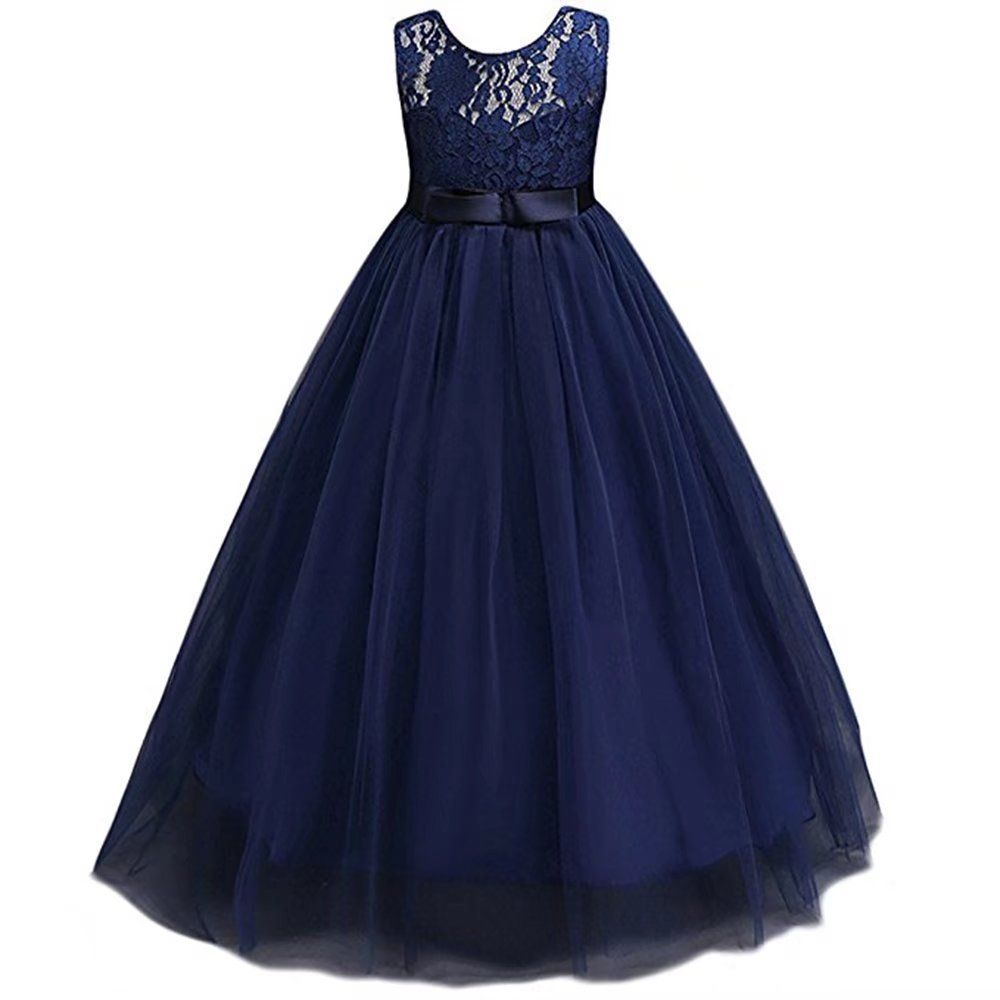 5768110481f ZAH Girl Dress Kids Ruffles Lace Party Wedding Dresses(Navy Blue