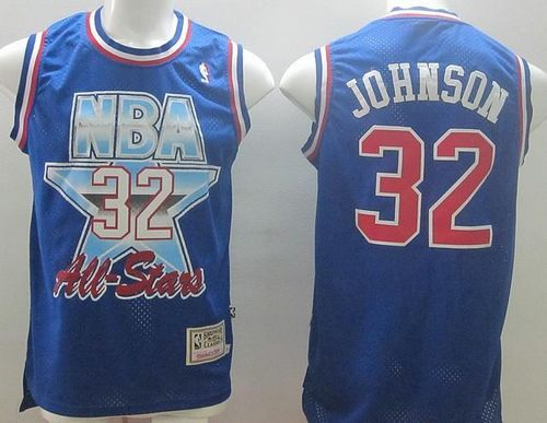 2145564b1e3 Mitchell And Ness Lakers  32 Magic Johnson Blue 1993 All Star Stitched NBA  Jersey