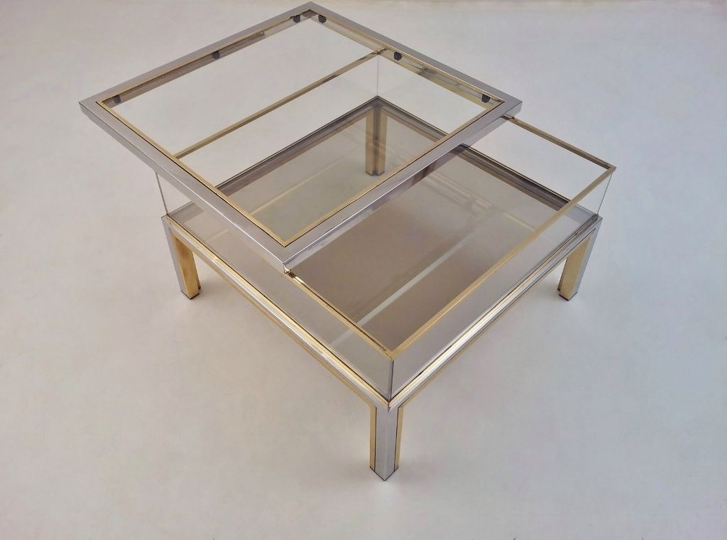 Romeo Rega Signed Vintage Coffee Table Sliding Top Display Brass