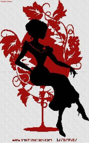0 point de croix silhouette noir et rouge fille assise. Black Bedroom Furniture Sets. Home Design Ideas