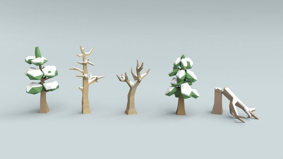 Low poly winter trees royalty-free 3d model - Preview no  1