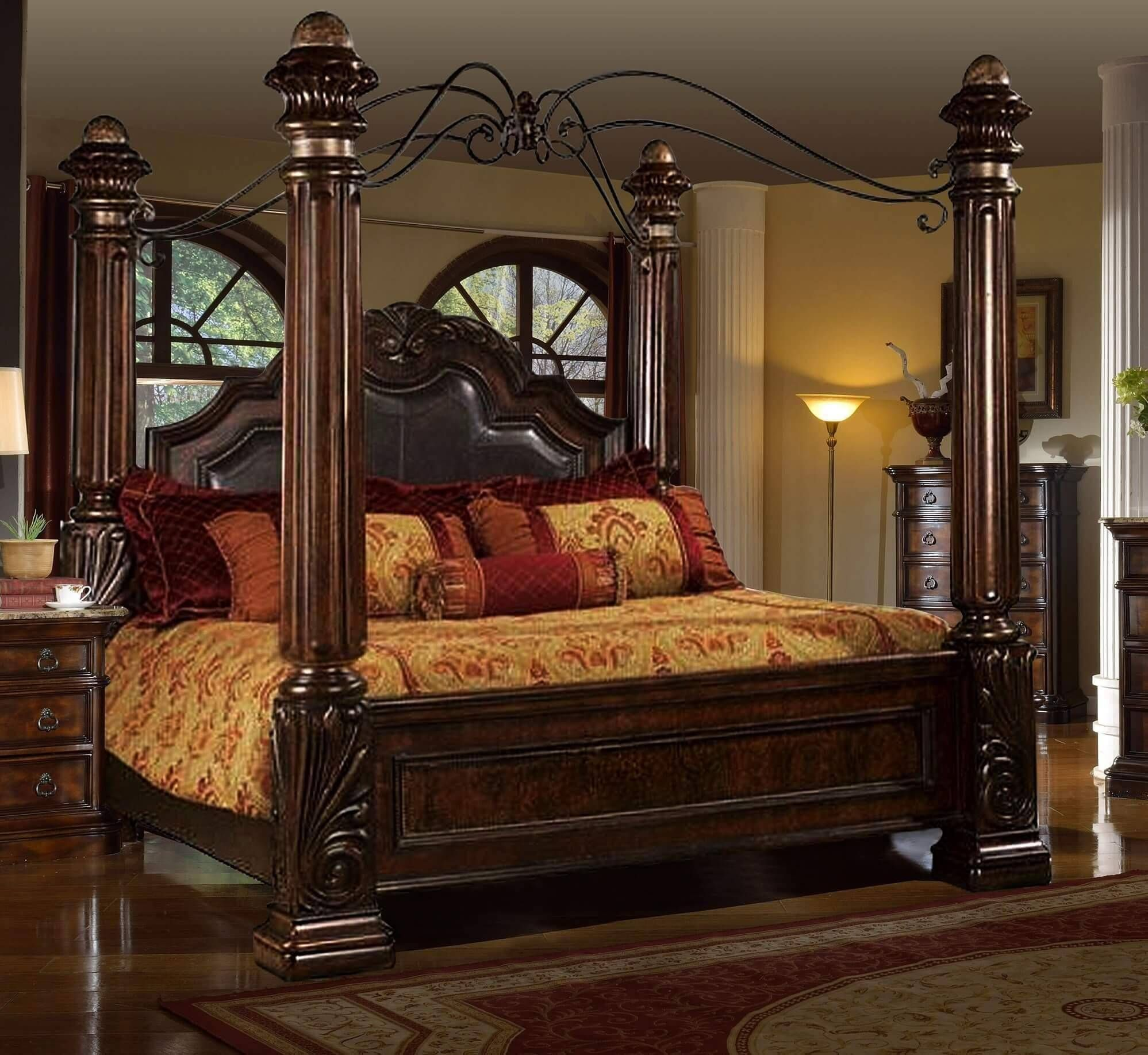 Mcferran B6005 Rich Brown Solid Hardwood Cal King Canopy Bed