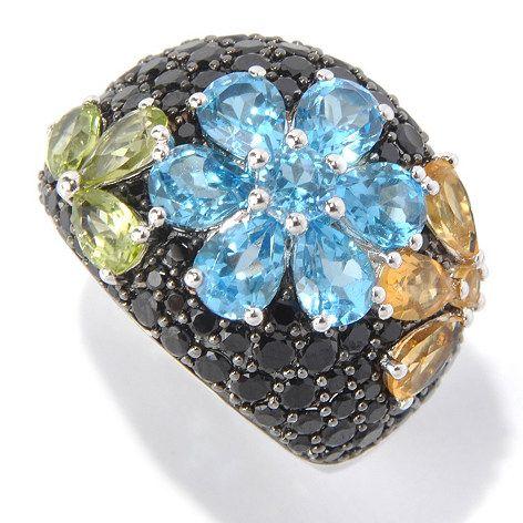 Gem Treasures Sterling Silver 5.00ctw Spinel & Multi Gemstone Flower Ring ShopHQ.com