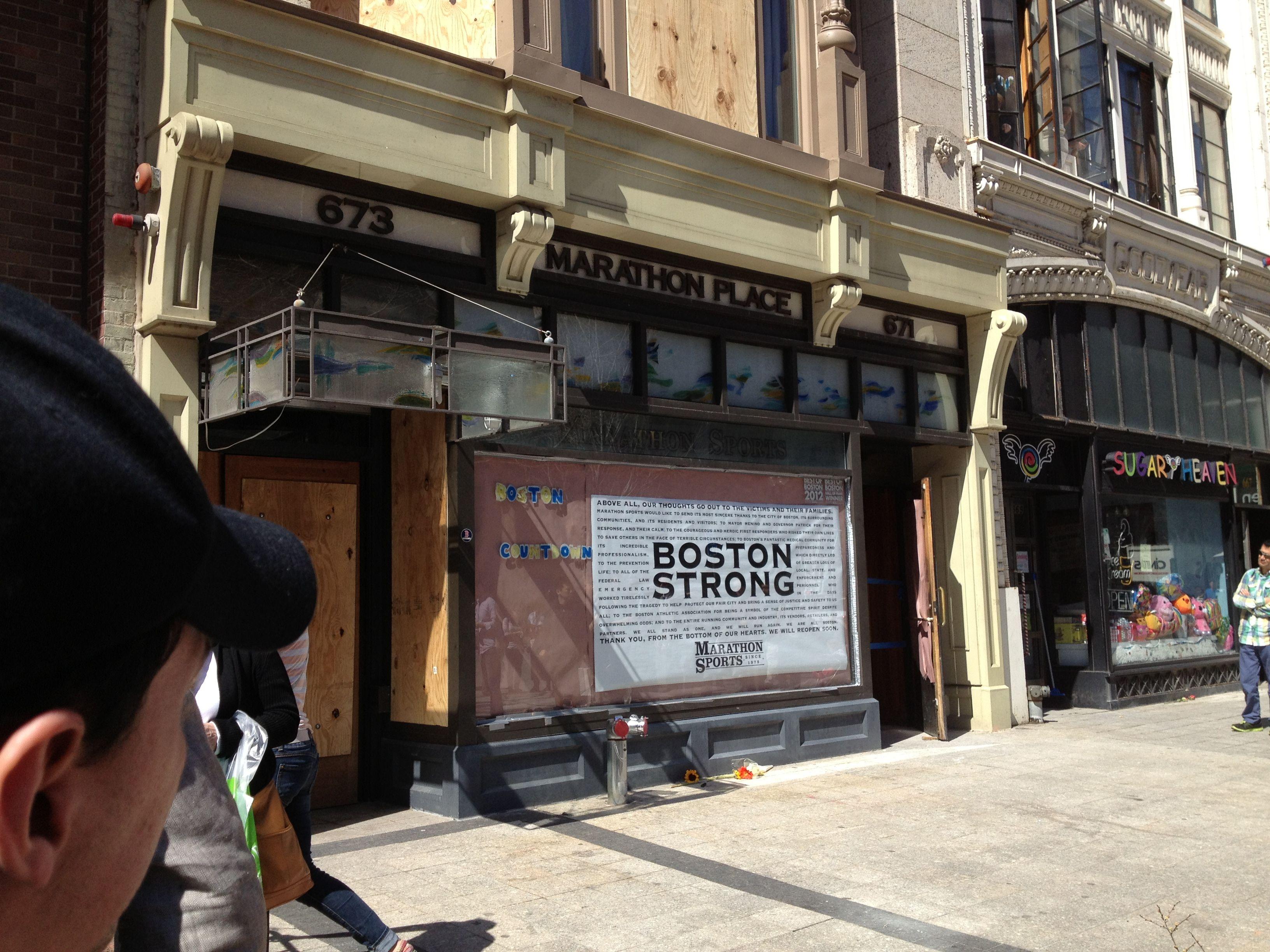 Marathon Sports, Boylston Street, Boston, the site of one