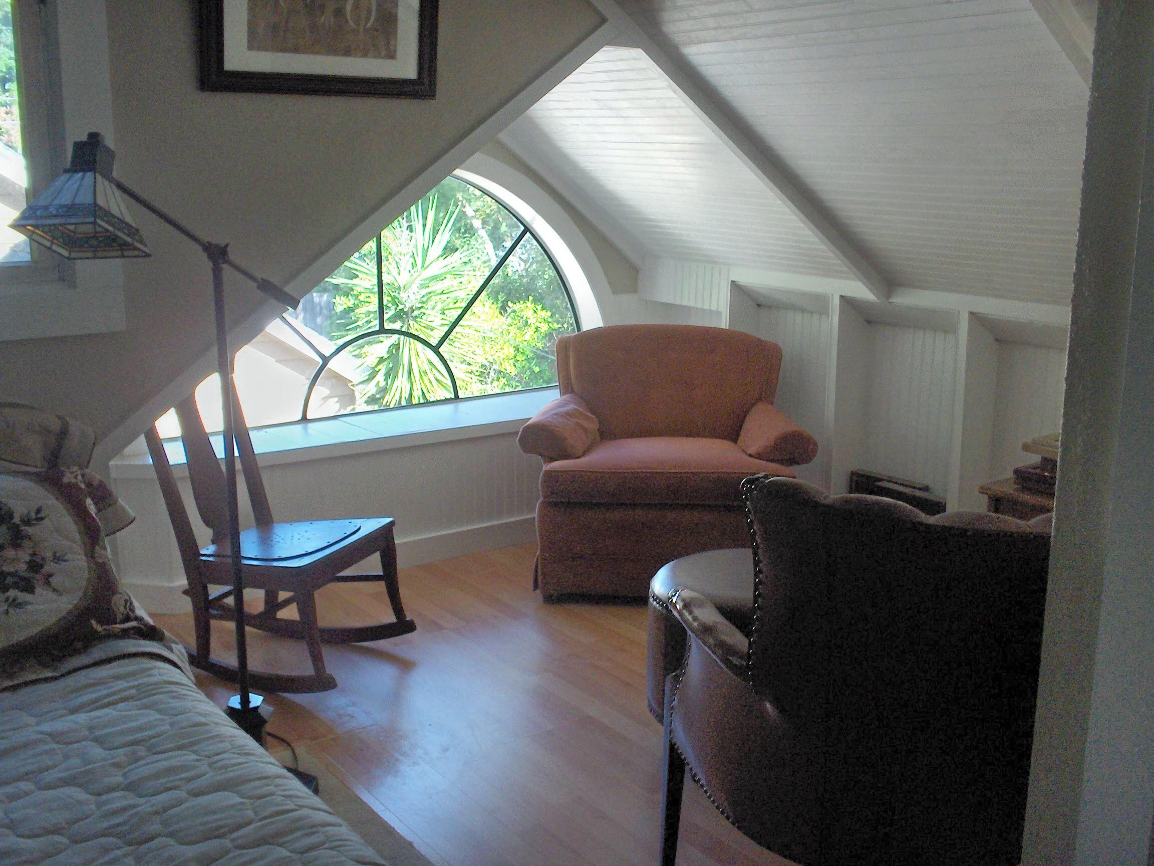 Low Ceiling Attic Bedroom Attic Renovation Palladian Window Seat Bead Board Ceiling