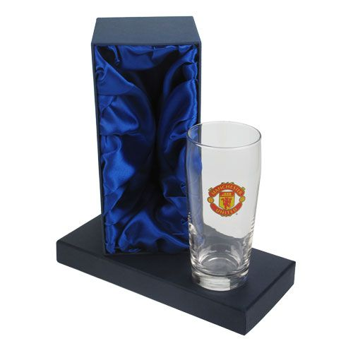Personalised Manchester United Pint Glass In Gift Box