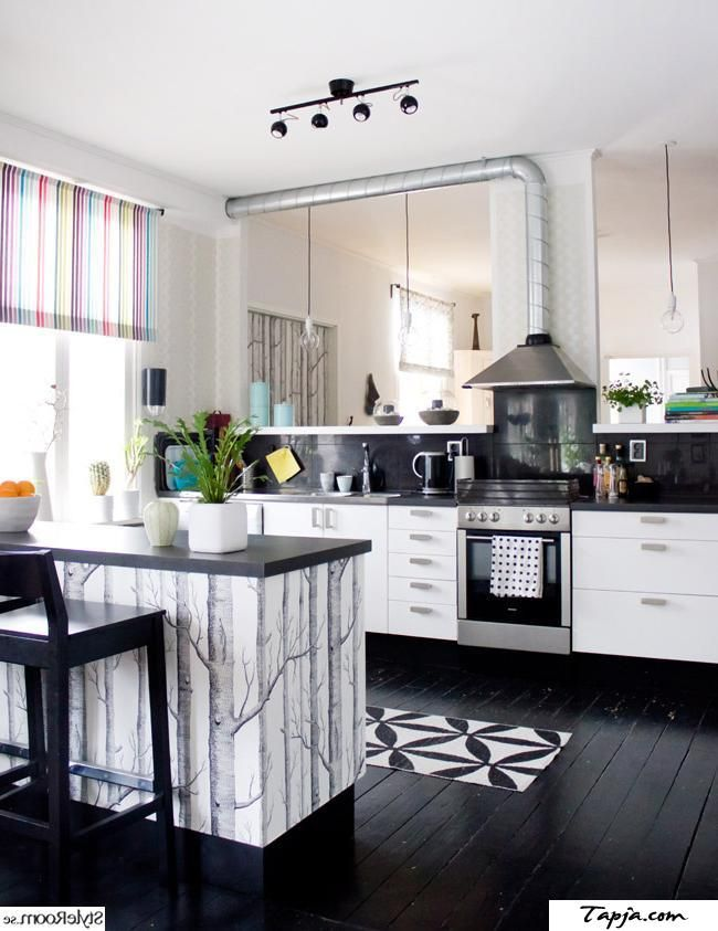 Black Wooden Floor Ideas White Cabinet Plus Mini Bar And Stripes ...
