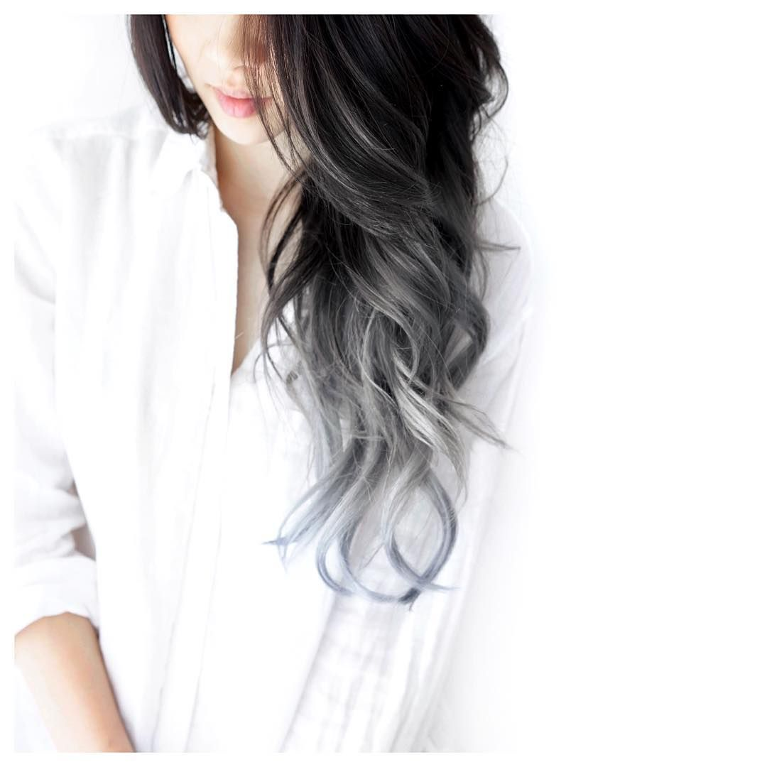 Black to grey ombre by eva lam My Mane Inspo Pinterest