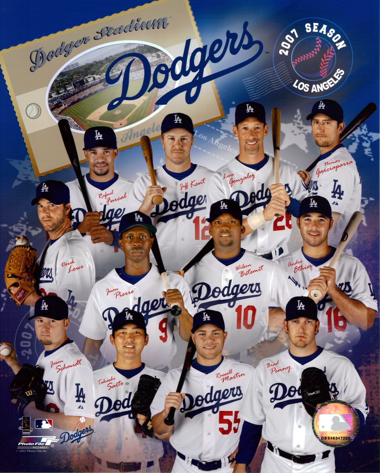 Los Angeles Dodgers 2007 Team Photo 8x10 Color Glossy Dodgers