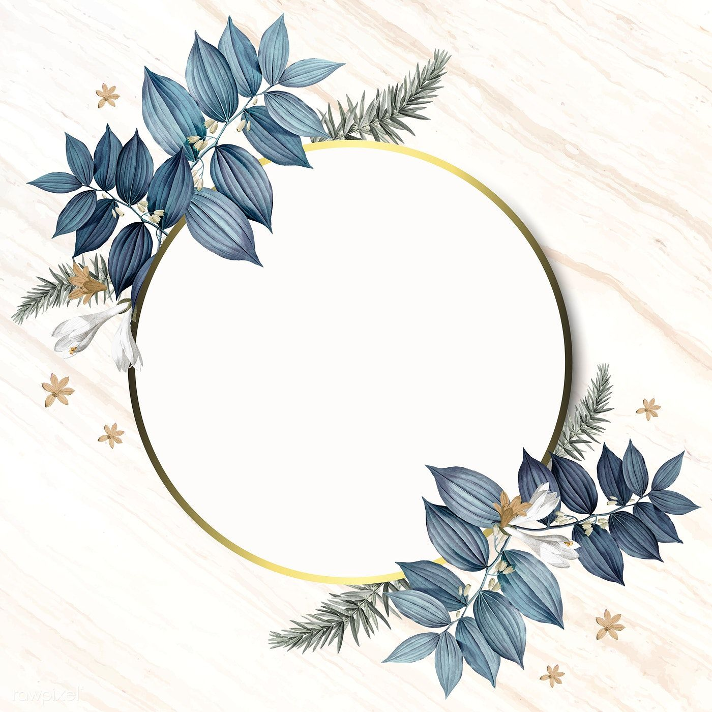 Download Premium Vector Of Round Foliage Frame On White Marble Background Wedding Frames Flower Background Wallpaper White Marble Background