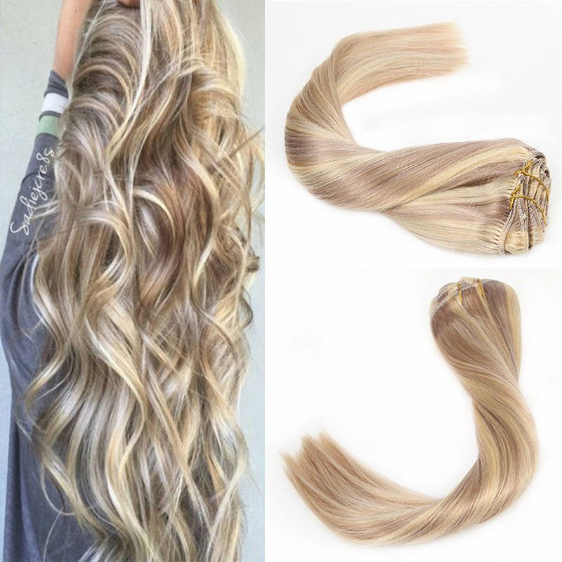 Sunny Clip In Human Hair Extensions Balayage Ash Blonde With Bleach