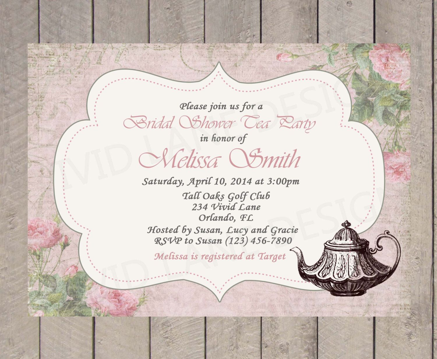 Tea party bridal shower invitation vintage elegant pink and green items similar to tea party bridal shower invitation vintage elegant pink and green wedding shower roses vintage style 144 on etsy filmwisefo