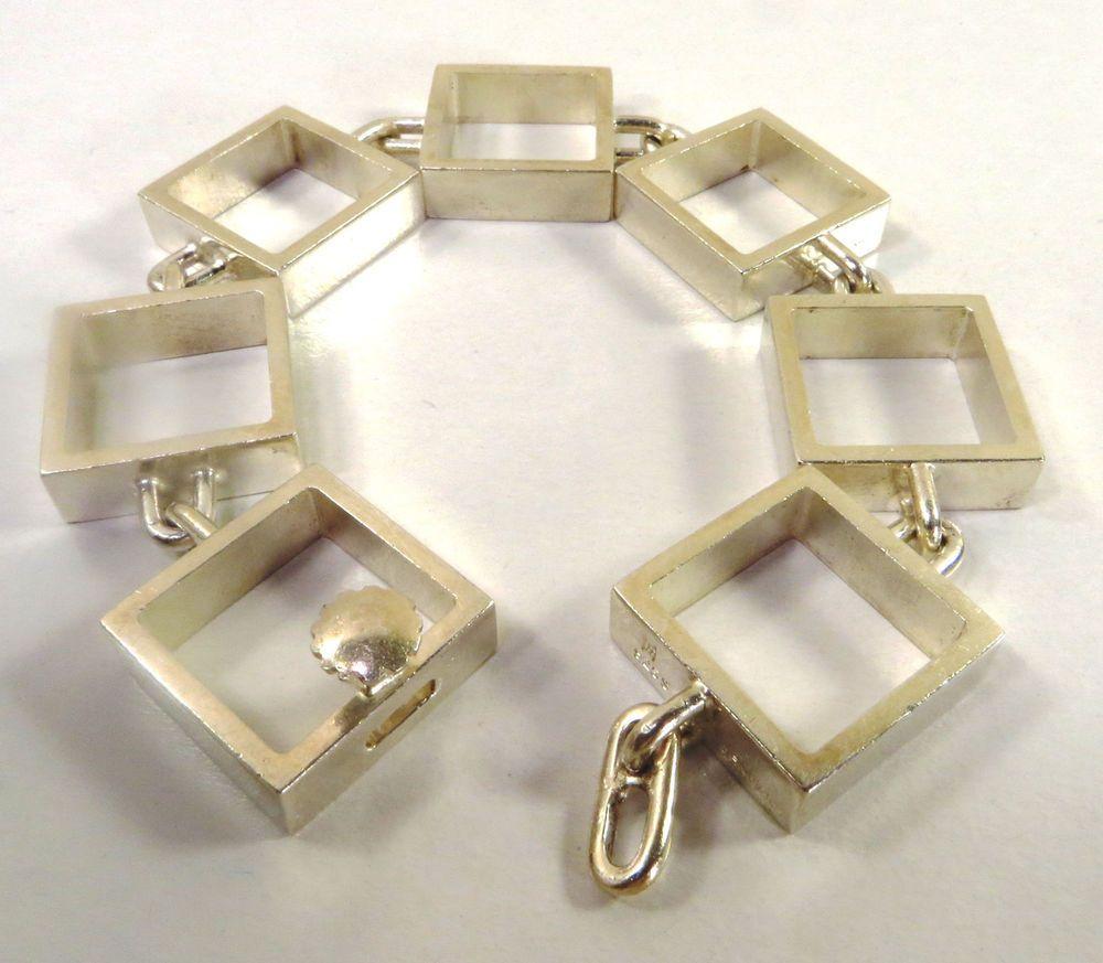Hans Hansen .925 Sterling Silver Bracelet  Signed Rare Modernist Denmark 1960s #HansHansen #Bracelet