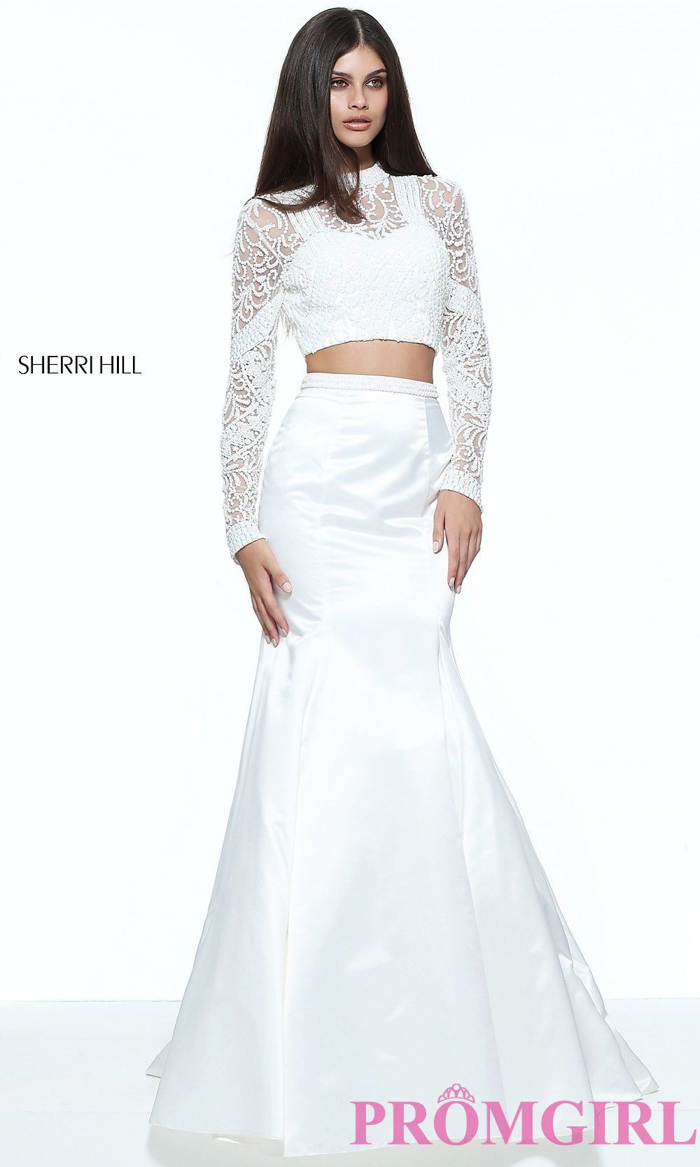 Long mermaid style two piece long sleeve high neck prom dress with
