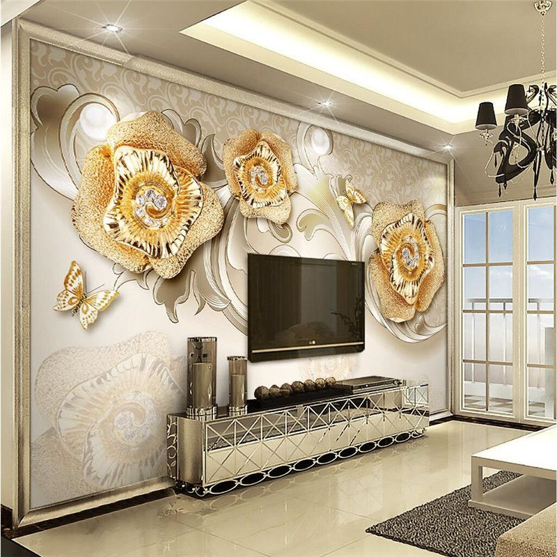 Beibehang Wallpaper Rose Gold Jewelry Butterfly Background Modern Stunning Wallpaper Living Room Ideas For Decorating Inspiration