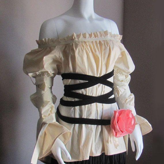 be79e2bf55d553 Plus Size Peasant Renaissance Steampunk Blouse. Victorian Clothes. Fairy  Blouse. All Sizes.