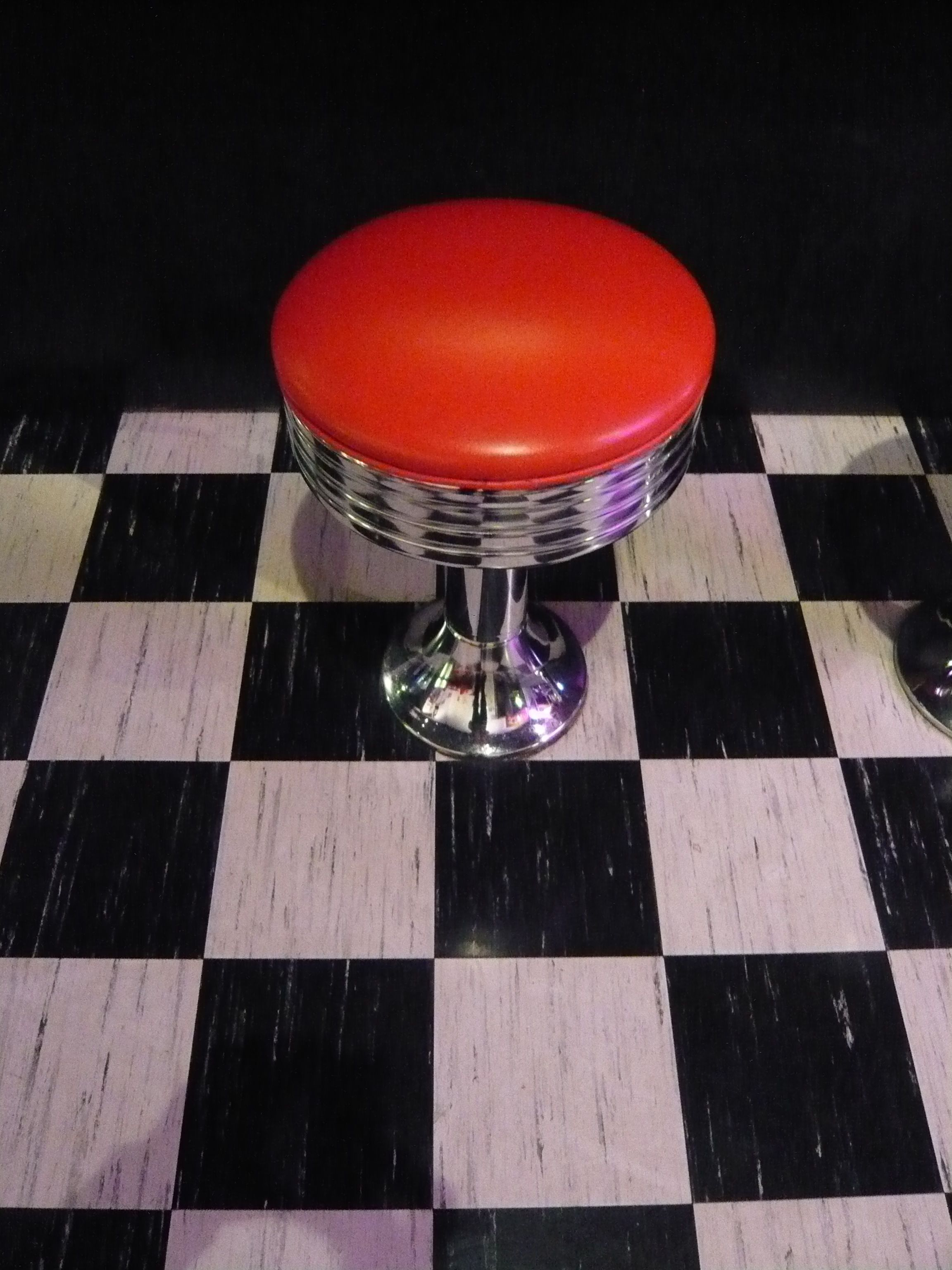 diner stool with checkered floor If I had a big home with extra