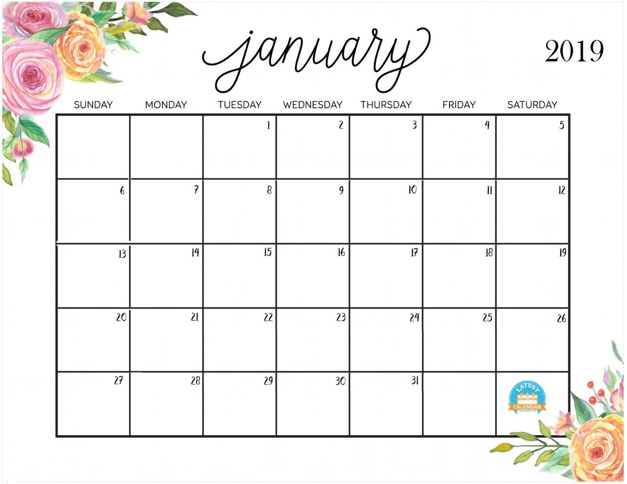 Free Cute Printable January 2019 Calendar Januarycalendar