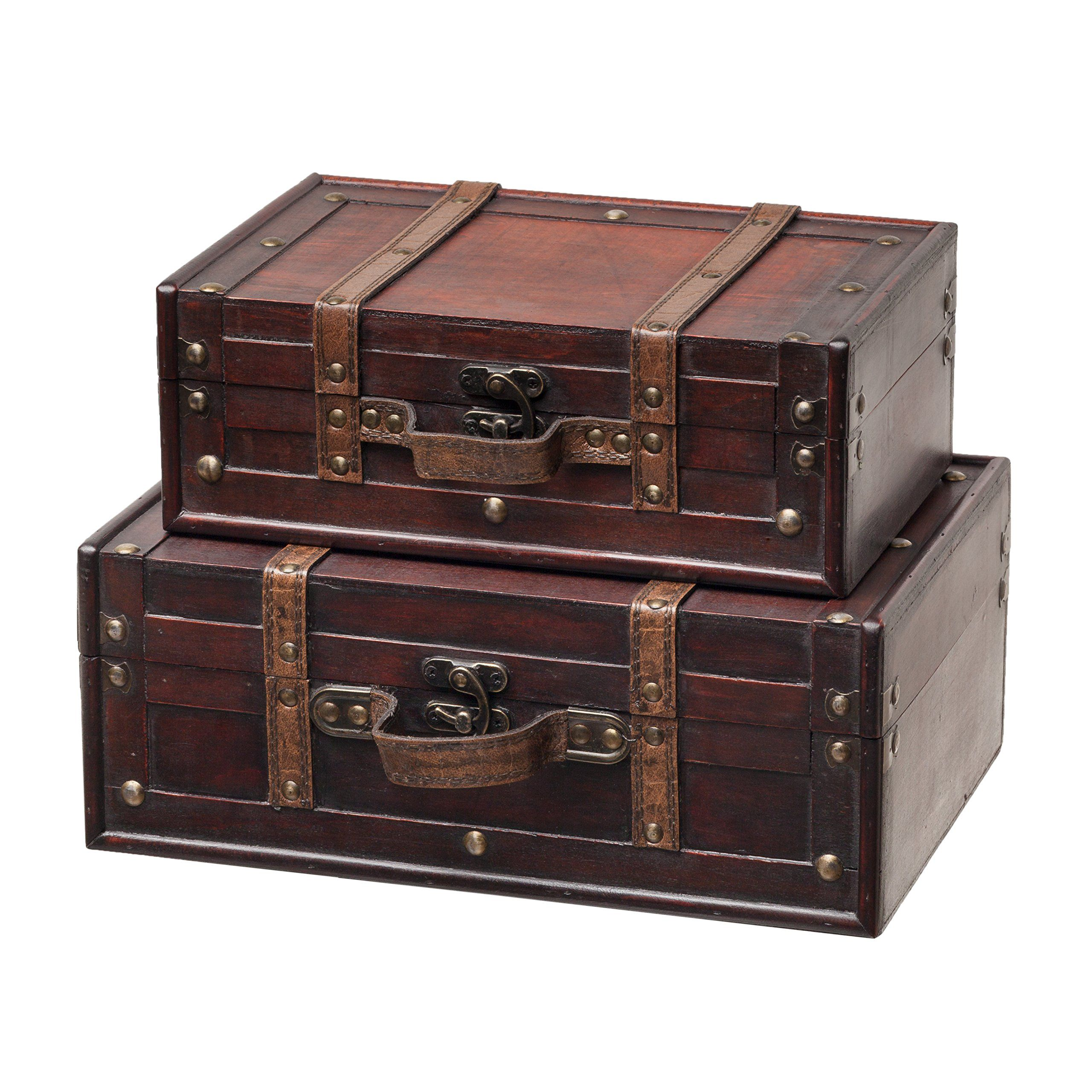 SLPR Decorative Suitcase with Straps Set of 2 Brown OldFashioned