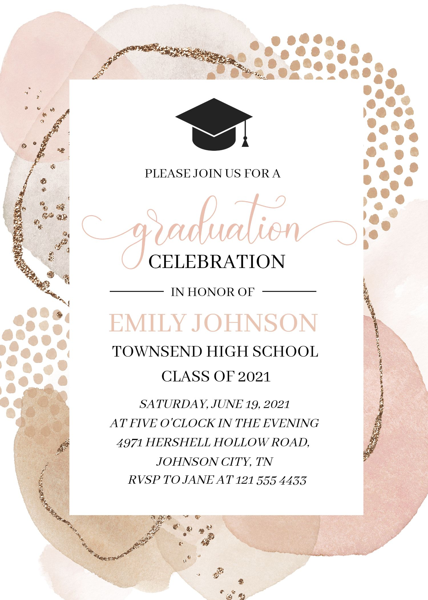 Abstract Graduation Invitation Template, Class 202