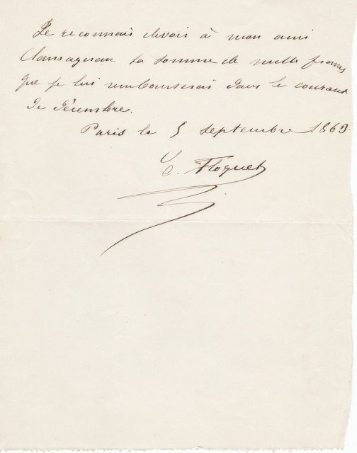 Handwritten IOU Letter By Charles Floquet French