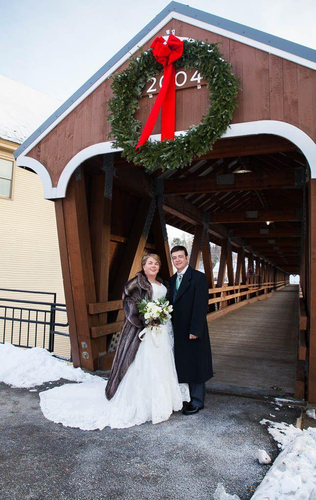 Wedding shots at the footbridge in Littleton, NH