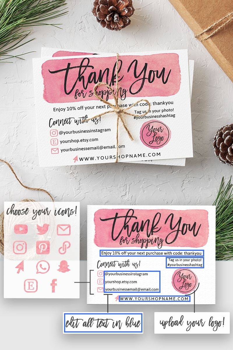 Instant Download Editable And Printable Thank You Card For Small Business With Your Logo Poshmark Thank You For Your Order Etsy Note Small Business Cards Etsy Packaging Packaging Ideas Business