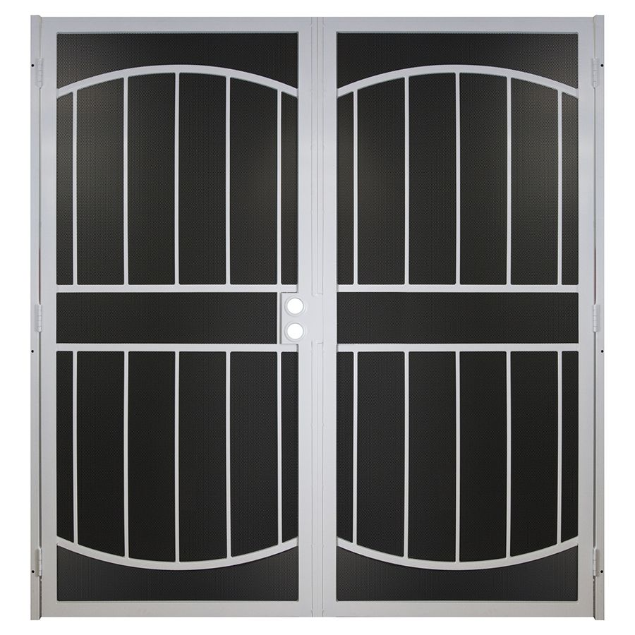 Gatehouse Ultra White Steel Surface Mount Double Security Door (Common: 72-in x 81-in; Actual: 74.75-in x 81.75-in)