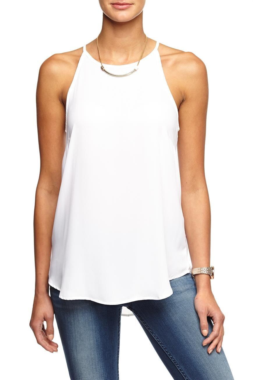cassandra strappy high neck cami, WHITE
