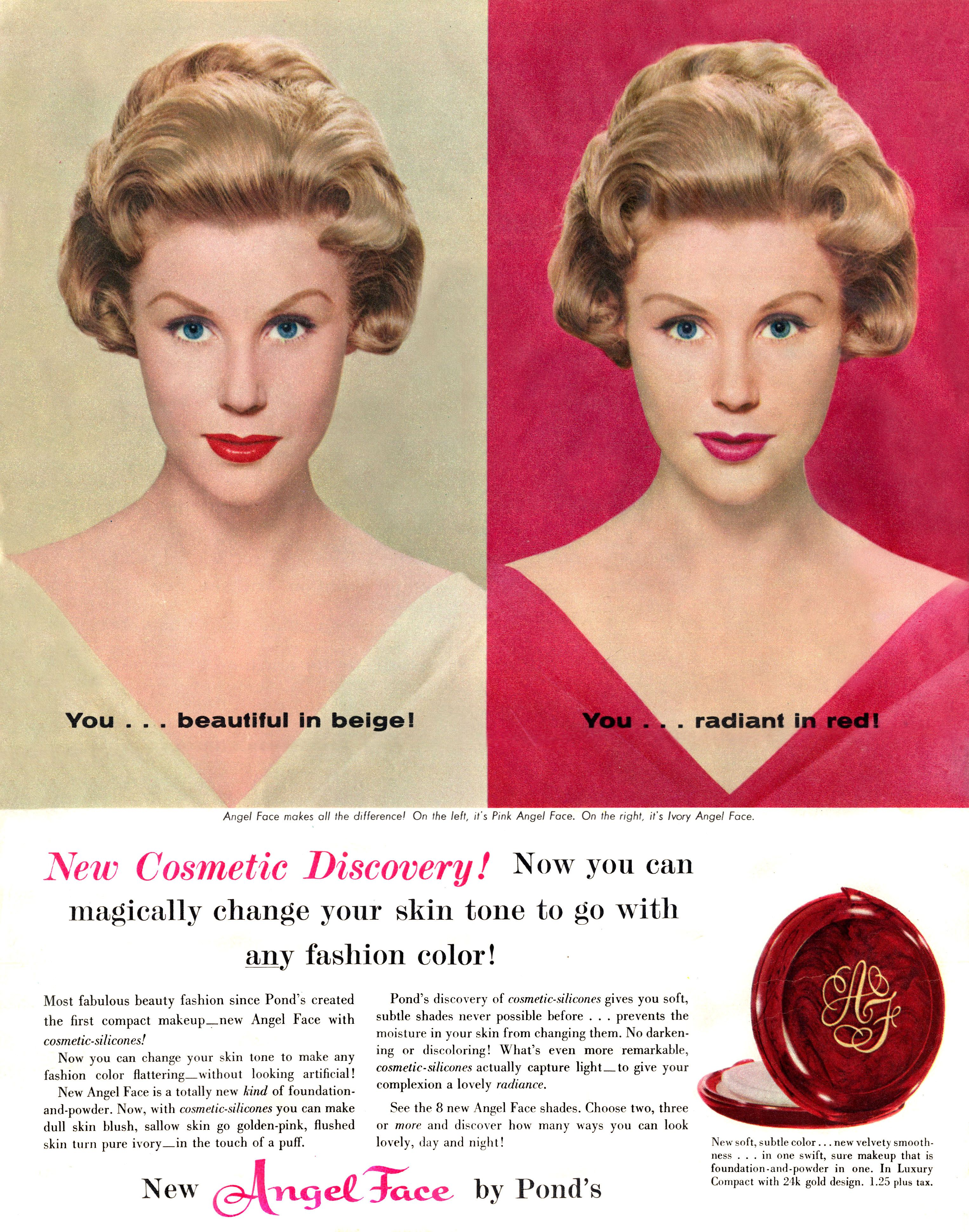 Vintage Pond's Angel Face makeup ad scanned from 1959