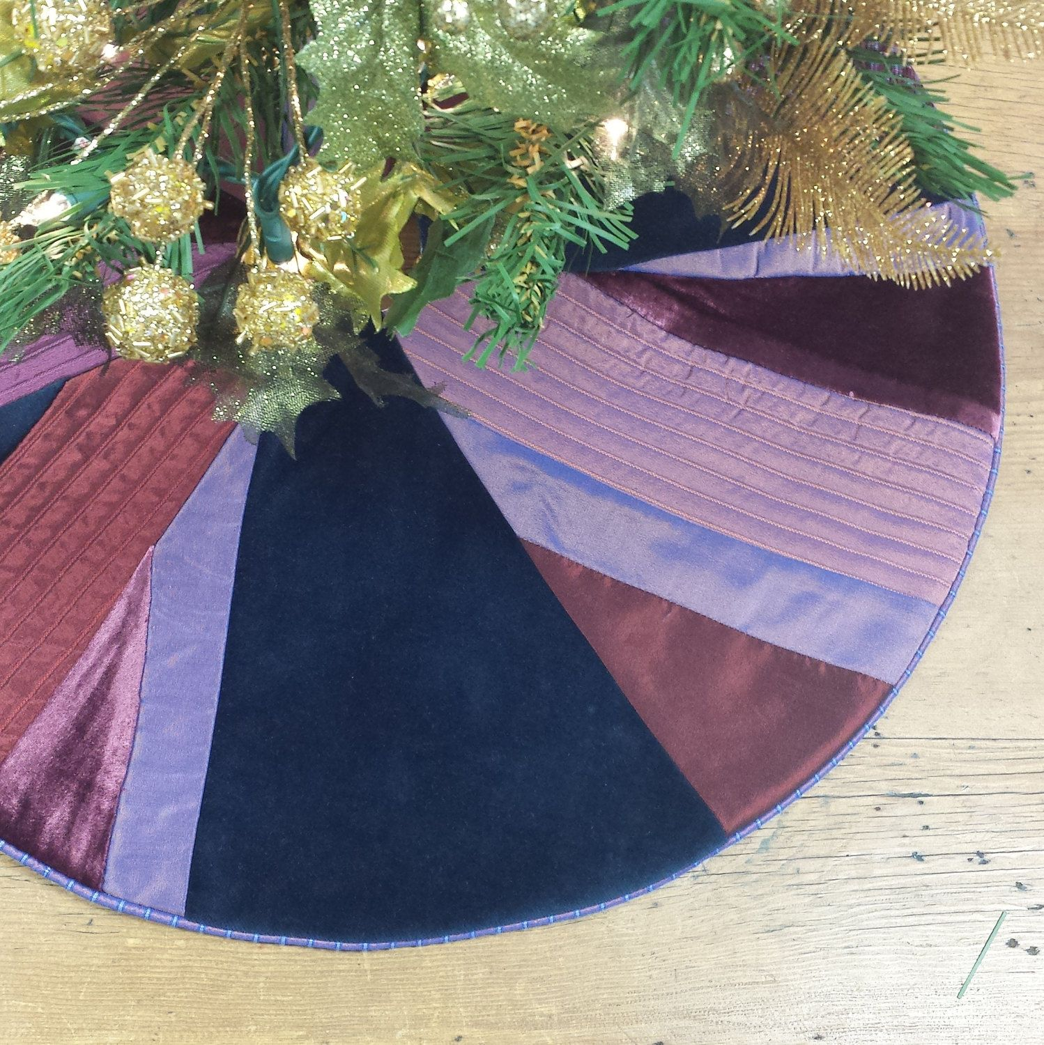 22 Mini Christmas Tree Skirt Navy Blue Plum Purple Amethyst Silk