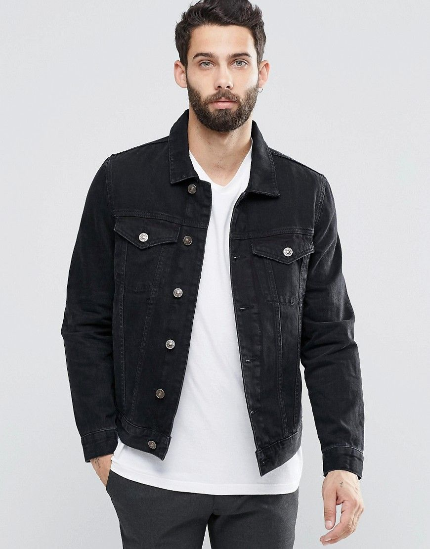 Image 1 of River Island Denim Jacket In Black | BRIT | Pinterest ...