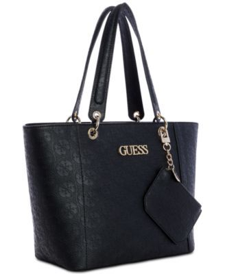 cb33ab18097bc Guess Kamryn Debossed Logo Tote With Pouch - Black in 2019 ...