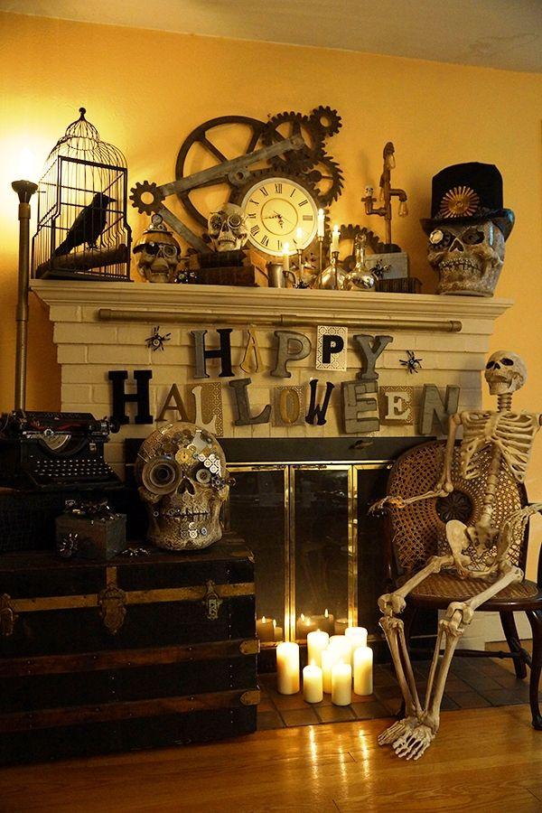Skeleton near living room fireplace halloween decor also stylish decorations ideas girl   hallowen rh pinterest