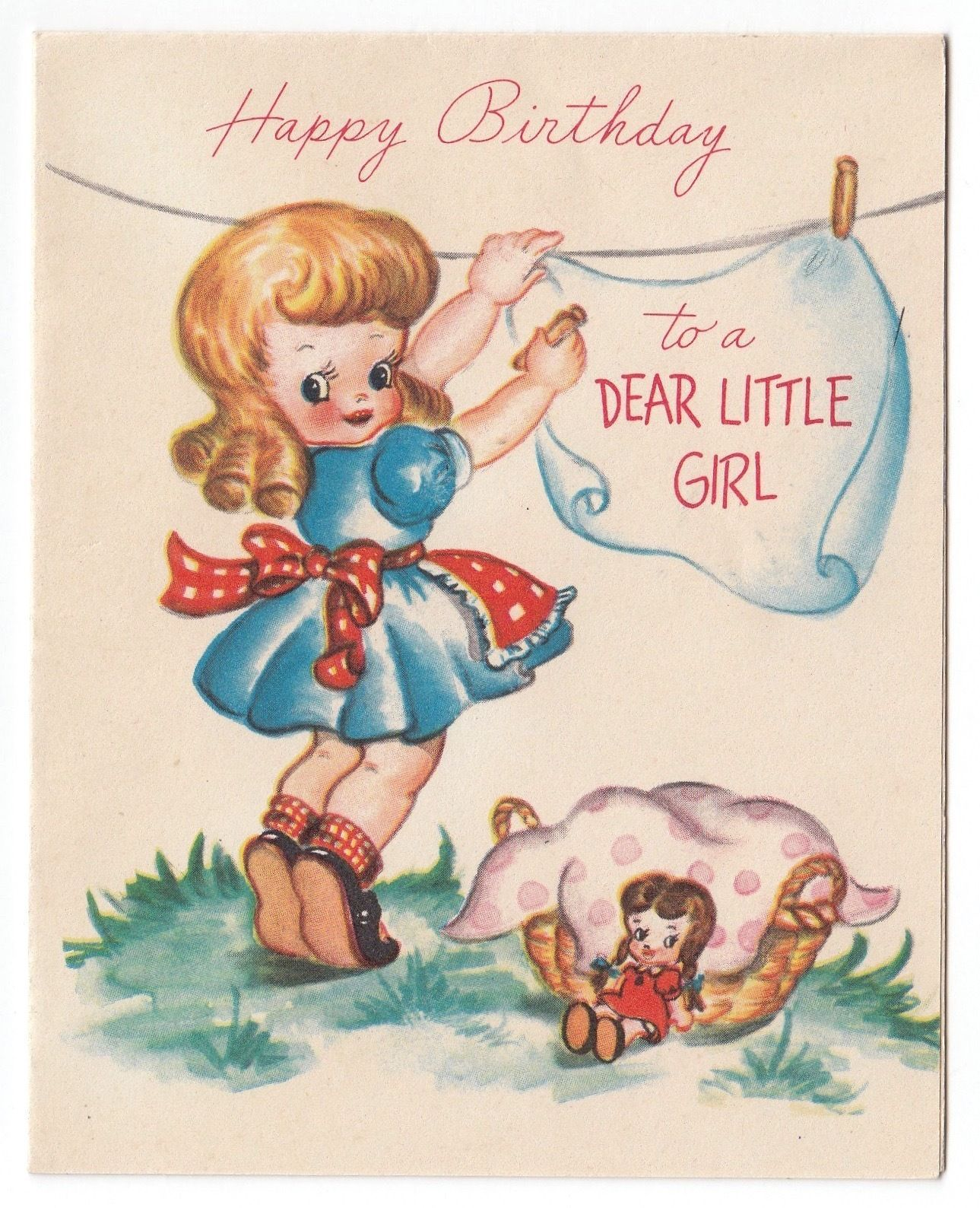 Vintage Greeting Card Cute Little Girl 1940s Clothesline Baby Doll