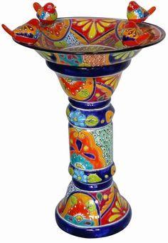 Talavera Pottery - Talavera Bird Bath with Birds - pottery