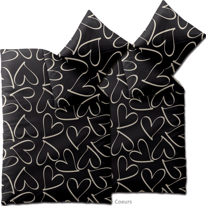 4 teilig / Fashion Bettwäsche 135x200 Baumwolle Coeurs schwarz creme