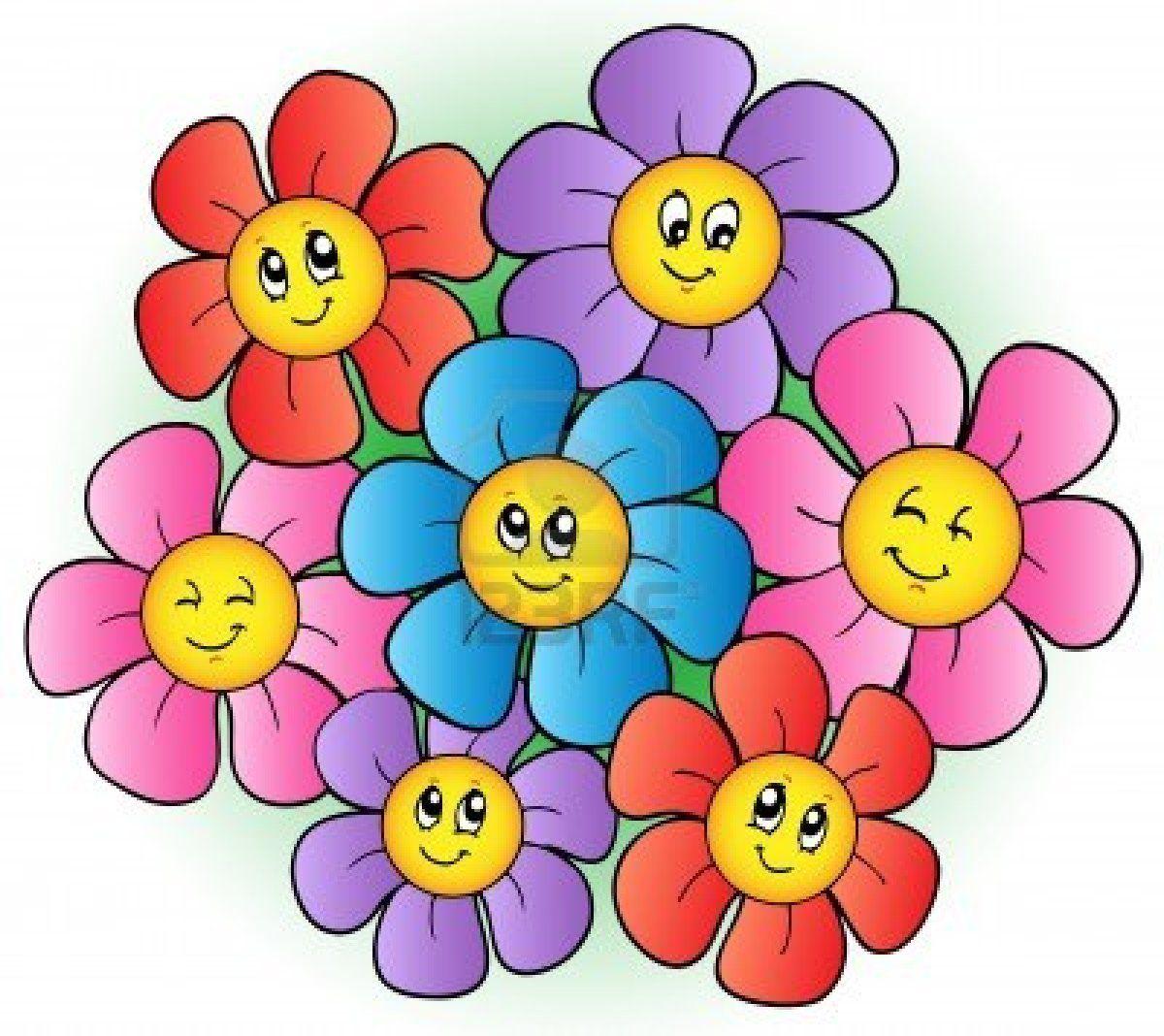 Grupo De Dibujos Animados De Flores Lilas Florcita Pequea Y Otros
