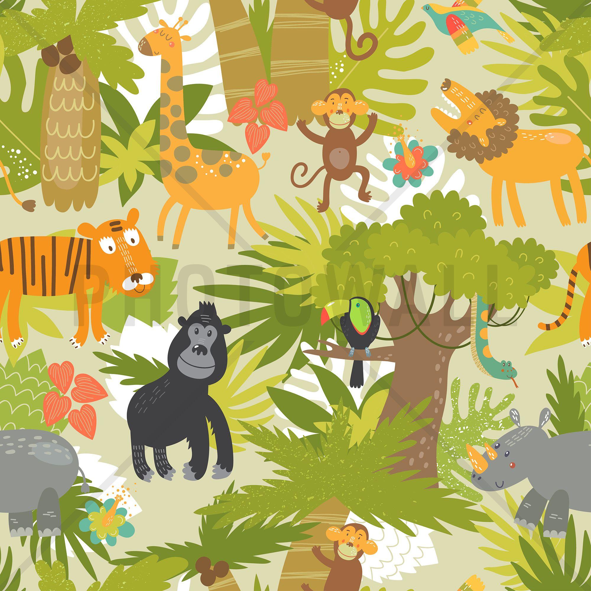 cute jungle animals decoration murale papier peint photo photowall ideco papier peint. Black Bedroom Furniture Sets. Home Design Ideas