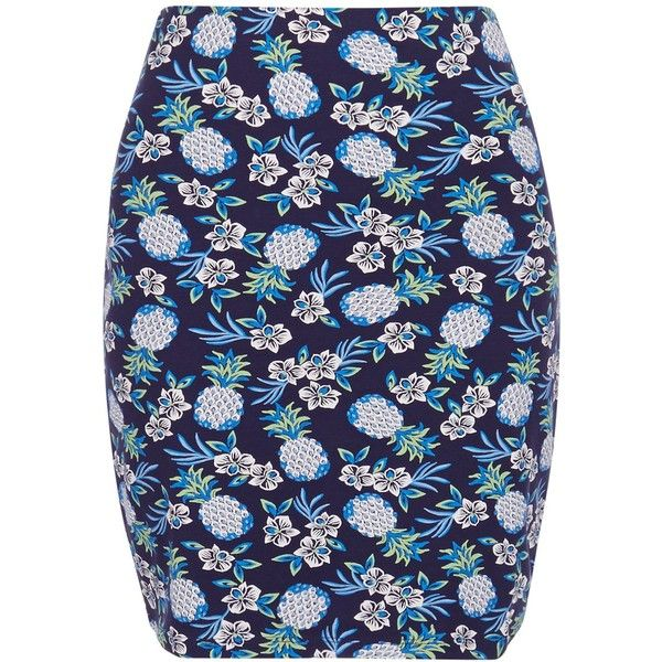 New Look Blue Pineapple Print Tube Skirt ($6.24) ❤ liked on Polyvore featuring skirts, blue pattern, blue skirt, pineapple skirt, blue maxi skirt, print maxi skirt and print skirt