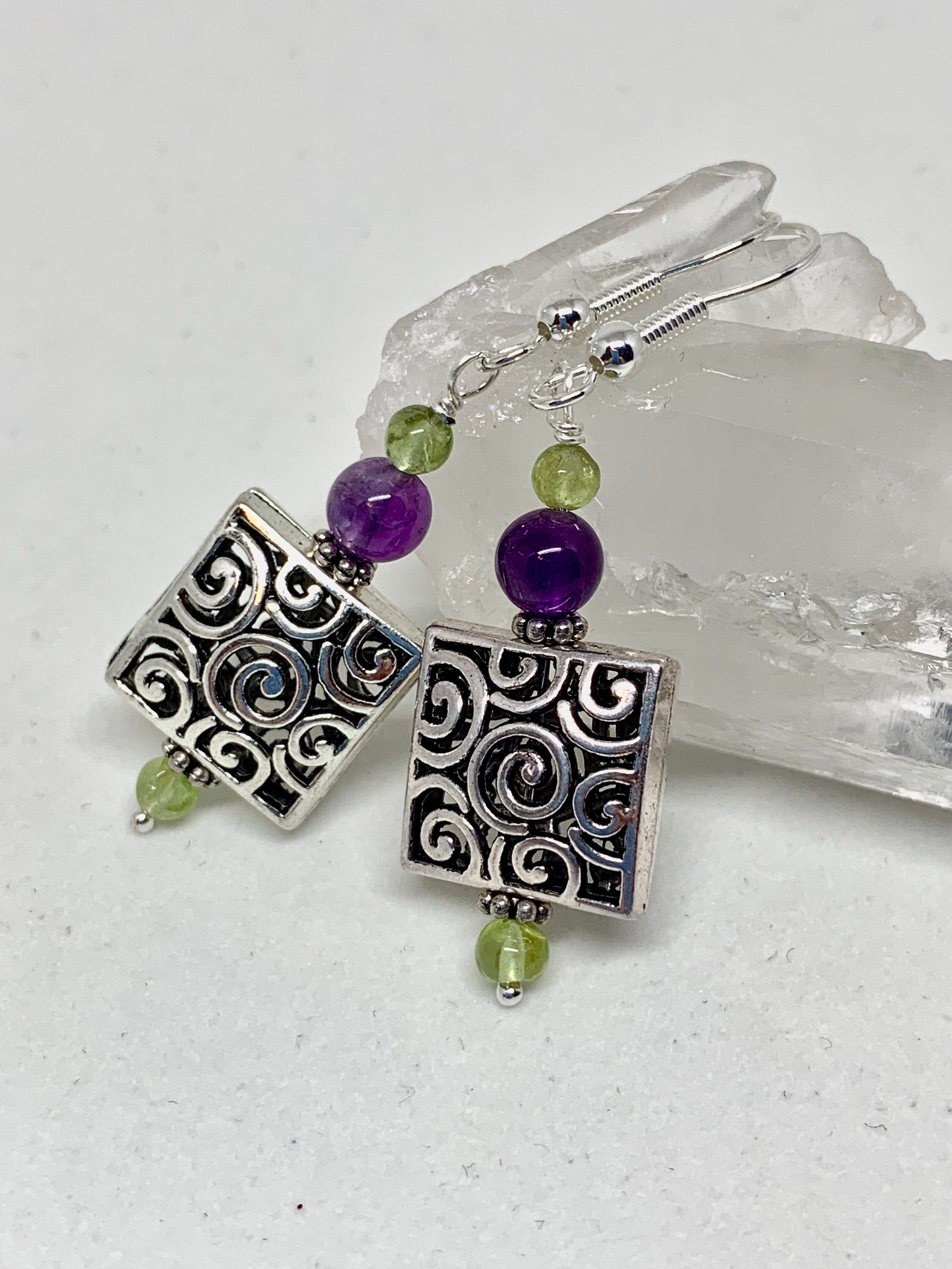 Photo of Amethyst peridot square silver filigree earrings, dark purple and green stone jewelry, February and August birthstones