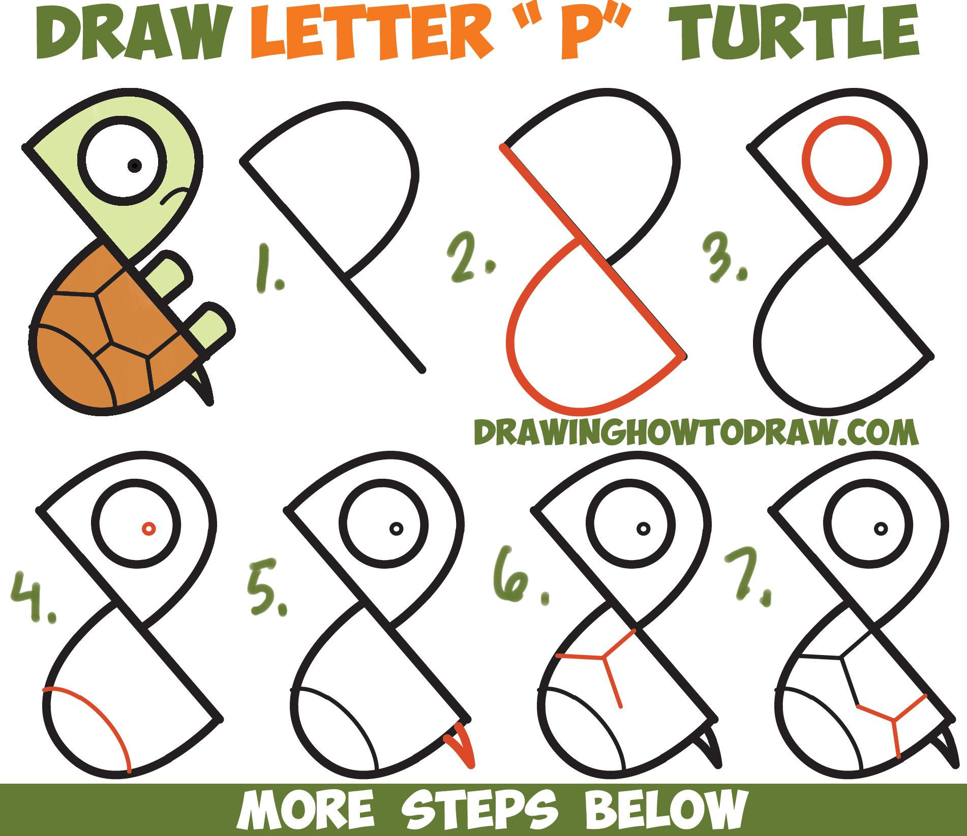How to Draw a Cute Cartoon Turtle from Letter P Shapes Easy Step