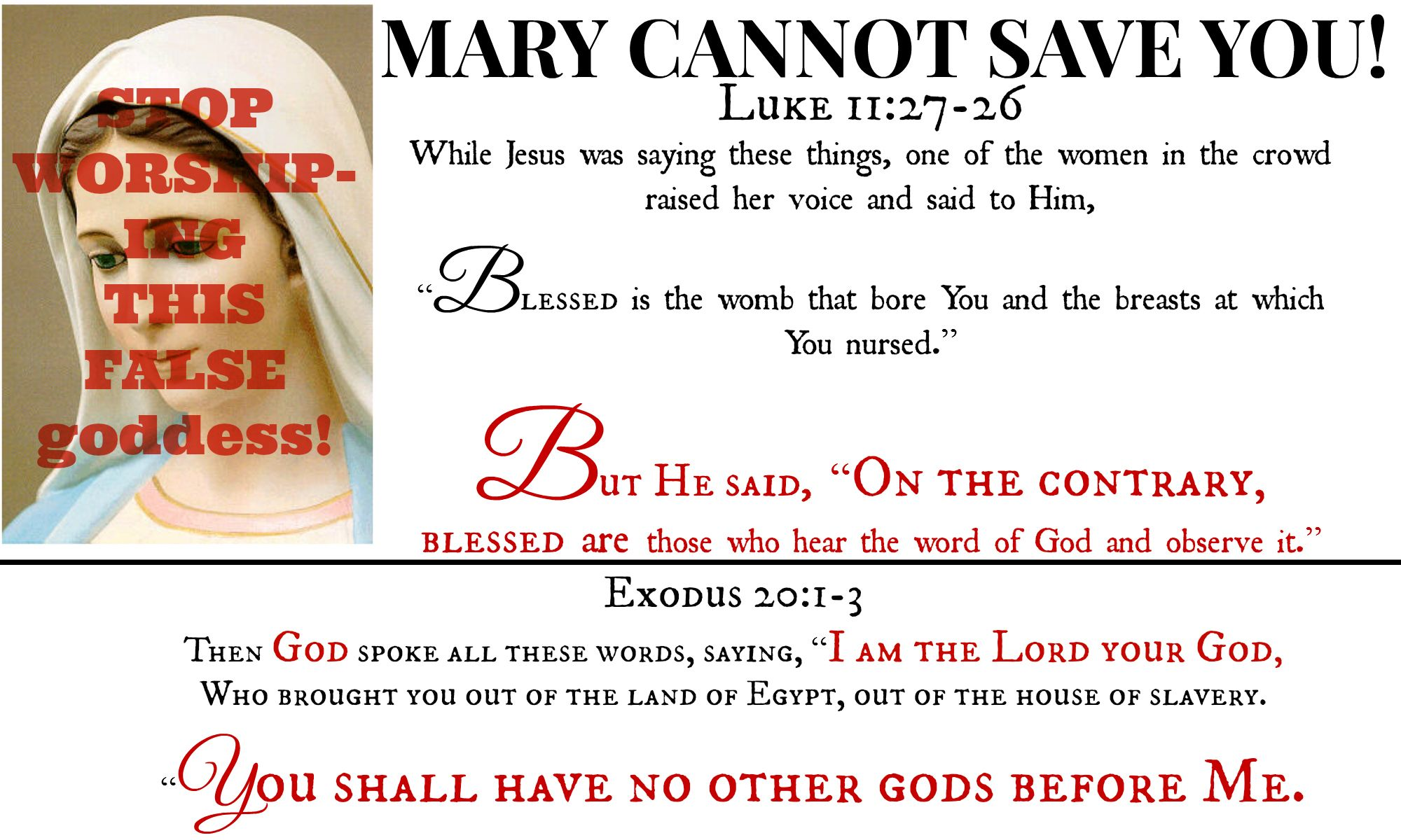 Mary Cannot Save You This False God That People Worship Pray To