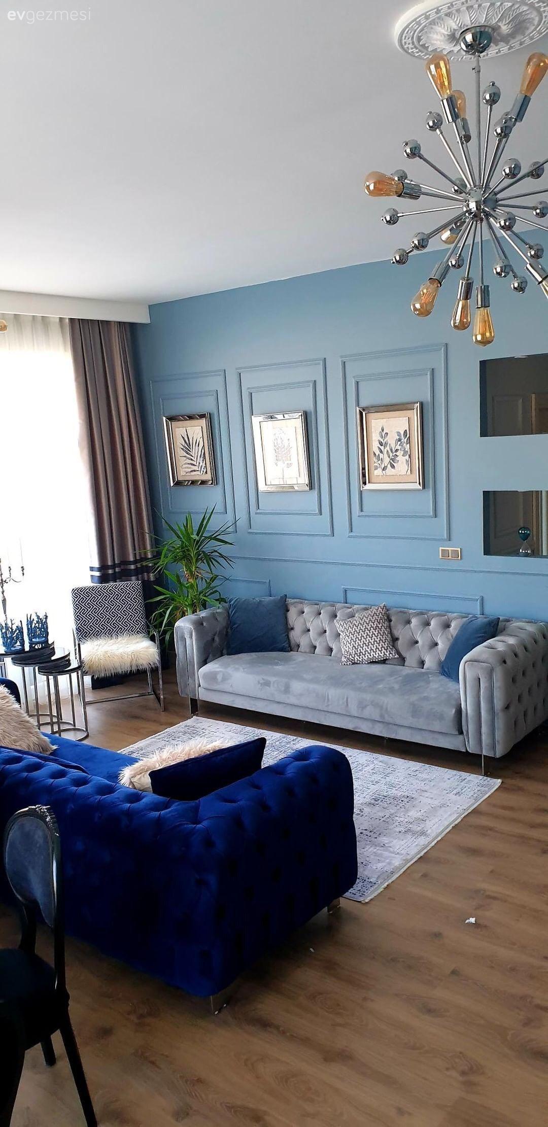 Bu Evin Serin Renkleri Sik Dekorasyona Taze Bir Nefes Katiyor Ev Gezmesi Luks Oturma Odalari Ev Icin Oturma Odasi Takimlari